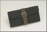 Shisato Black Leather Shear Case with Brown Suede