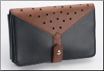 Brown & Black Polka Dot Leather Shear Case