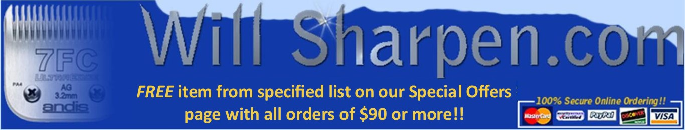 Free offer with $90 or more orders at WillSharpen.com